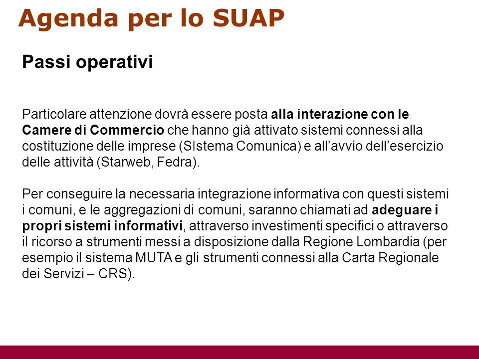 Agenda per lo SUAP Particolare attenzione dovrà essere posta alla interazione con le Camere di Commercio che hanno già attivato sistemi connessi alla costituzione delle imprese (SIstema Comunica) e allavvio dellesercizio delle attività (Starweb, Fedra).