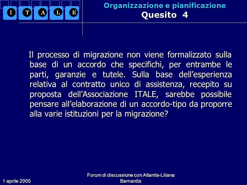 1 aprile 2005 Forum di discussione con Atlantis-Liliana Bernardis Organizzazione e pianificazione Quesito 4 Il processo di migrazione non viene formalizzato sulla base di un accordo che specifichi, per entrambe le parti, garanzie e tutele.