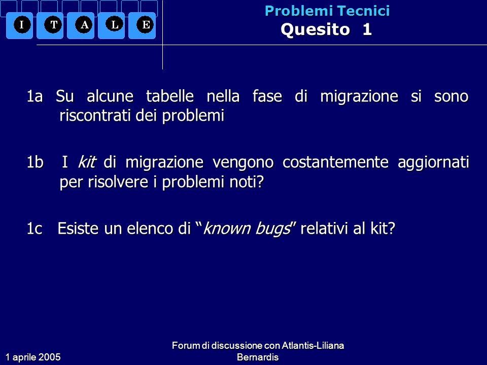1 aprile 2005 Forum di discussione con Atlantis-Liliana Bernardis Problemi Tecnici Quesito 1 1a Su alcune tabelle nella fase di migrazione si sono riscontrati dei problemi 1b I kit di migrazione vengono costantemente aggiornati per risolvere i problemi noti.
