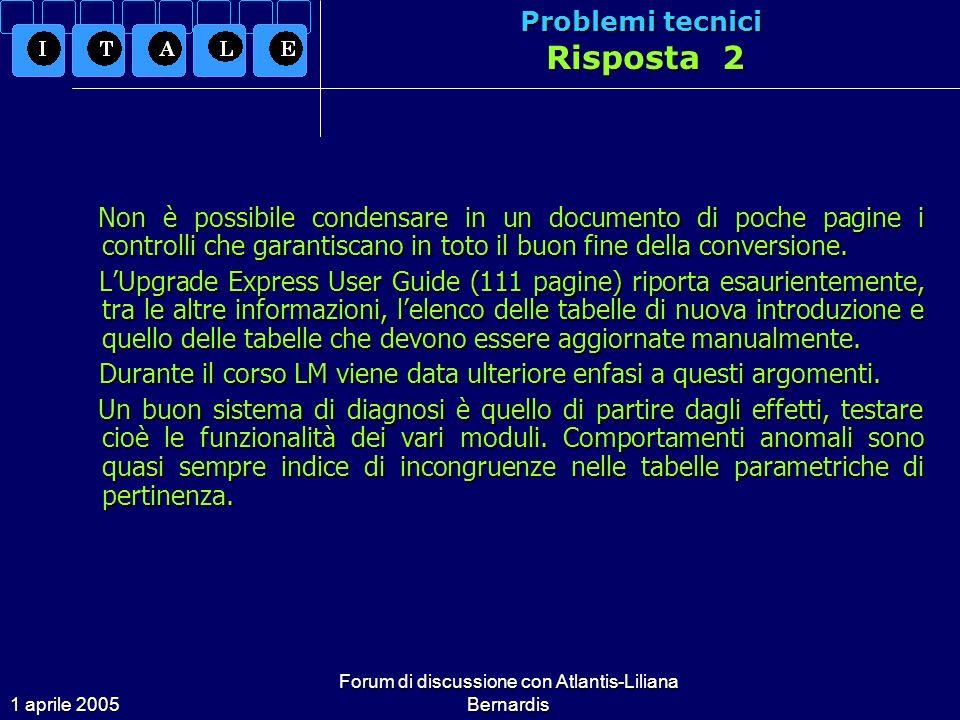 1 aprile 2005 Forum di discussione con Atlantis-Liliana Bernardis Problemi tecnici Risposta 2 Non è possibile condensare in un documento di poche pagine i controlli che garantiscano in toto il buon fine della conversione.