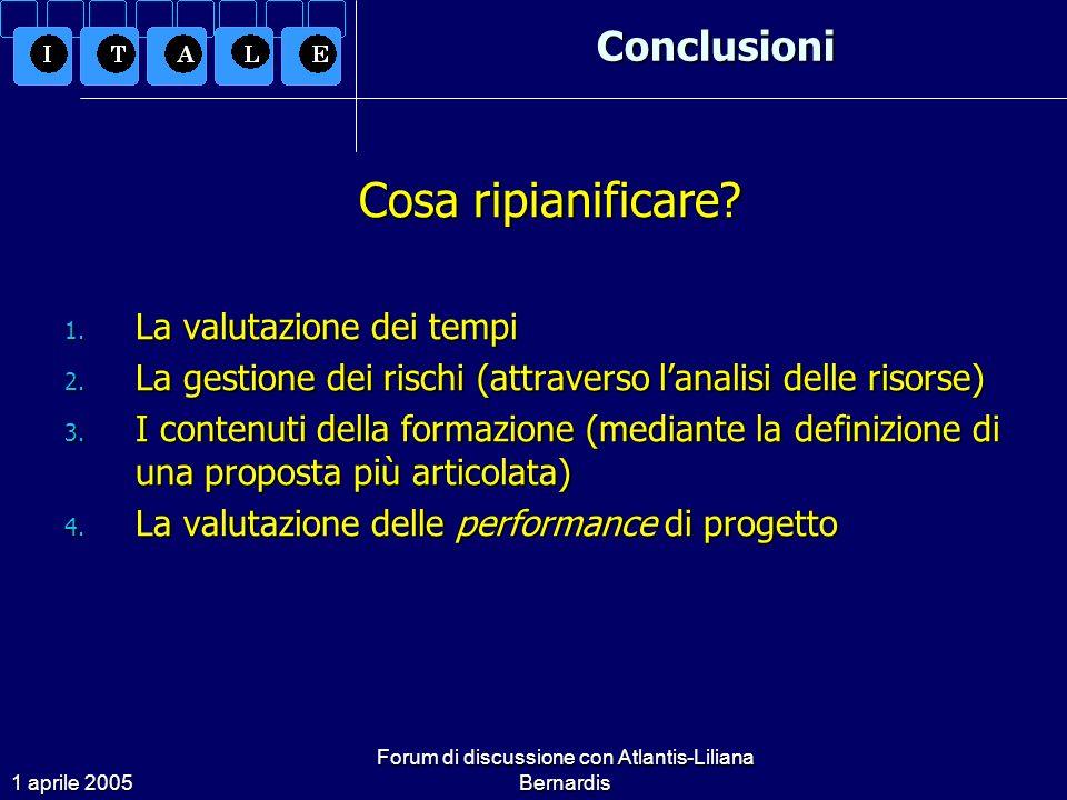 1 aprile 2005 Forum di discussione con Atlantis-Liliana BernardisConclusioni Cosa ripianificare.
