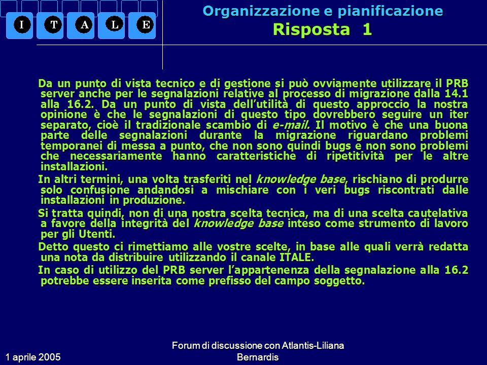 1 aprile 2005 Forum di discussione con Atlantis-Liliana Bernardis Organizzazione e pianificazione Quesito 6 Sarebbe possibile avere sul server www.libris.it, area documentazione, uno spazio da riservare alla pubblicazione di tabelle, file, template, capitoli dello User Manual tradotti in italiano.