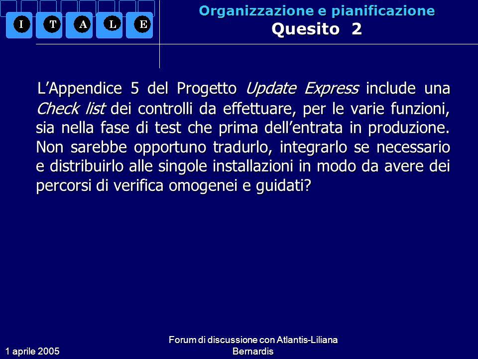 1 aprile 2005 Forum di discussione con Atlantis-Liliana Bernardis Organizzazione e pianificazione Quesito 2 LAppendice 5 del Progetto Update Express include una Check list dei controlli da effettuare, per le varie funzioni, sia nella fase di test che prima dellentrata in produzione.
