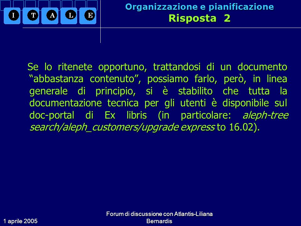 1 aprile 2005 Forum di discussione con Atlantis-Liliana Bernardis Problemi Tecnici Quesito 6 Molti utenti lamentano il fatto di dover lavorare con una risoluzione impostata a 1024x768 pixel.
