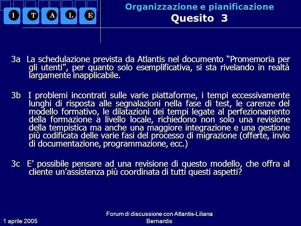 1 aprile 2005 Forum di discussione con Atlantis-Liliana Bernardis Organizzazione e pianificazione Quesito 3 3a La schedulazione prevista da Atlantis nel documento Promemoria per gli utenti, per quanto solo esemplificativa, si sta rivelando in realtà largamente inapplicabile.