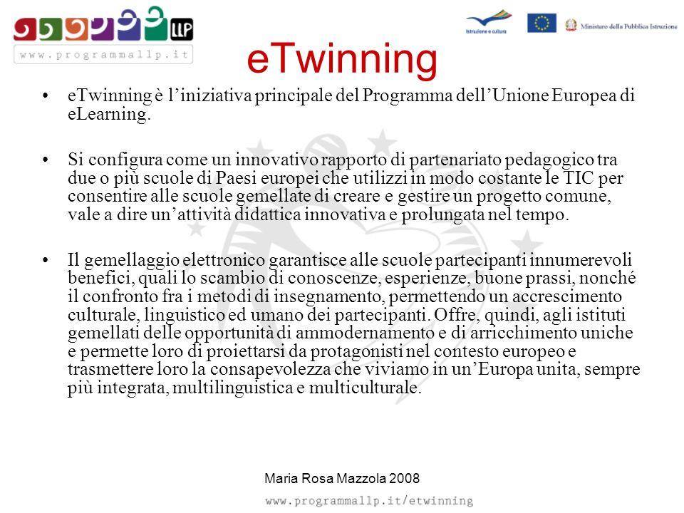 eTwinning eTwinning è liniziativa principale del Programma dellUnione Europea di eLearning. Si configura come un innovativo rapporto di partenariato p