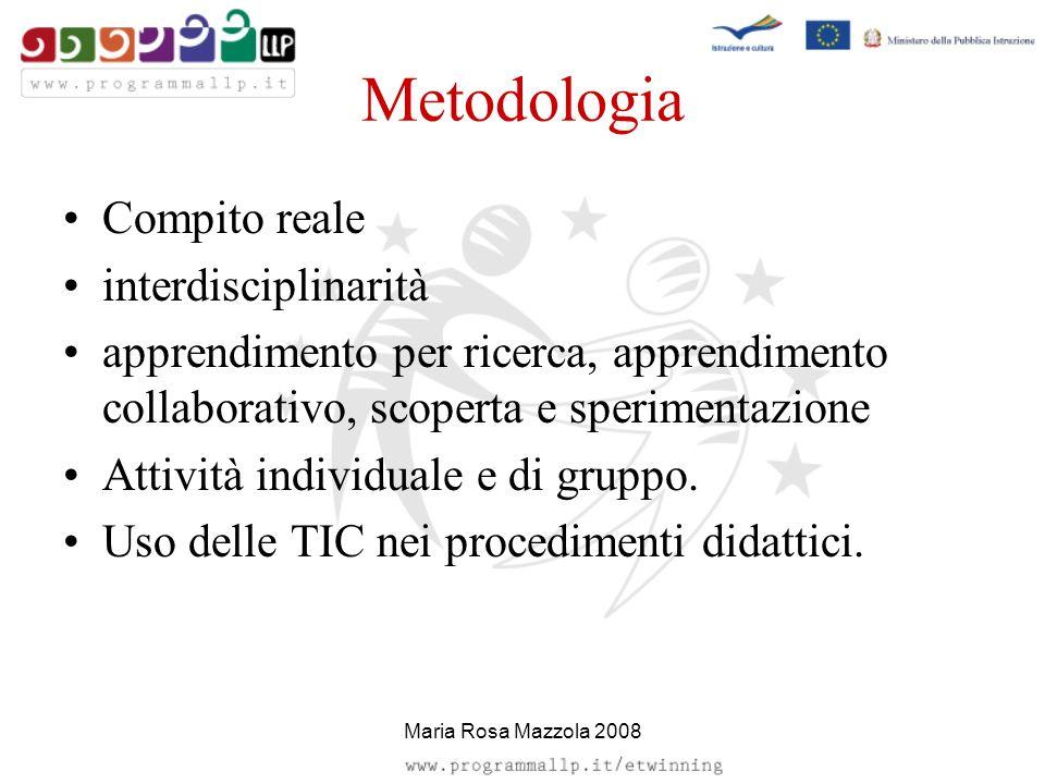 Metodologia Compito reale interdisciplinarità apprendimento per ricerca, apprendimento collaborativo, scoperta e sperimentazione Attività individuale