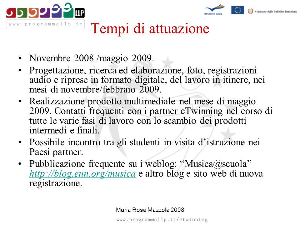 Tempi di attuazione Novembre 2008 /maggio 2009. Progettazione, ricerca ed elaborazione, foto, registrazioni audio e riprese in formato digitale, del l