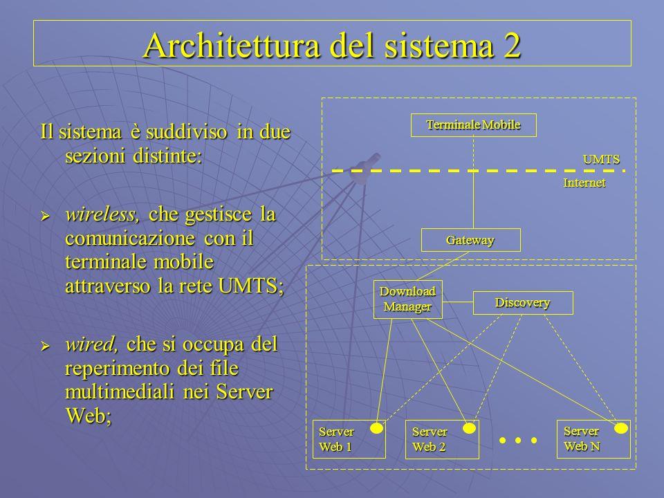 Architettura del sistema 2 Il sistema è suddiviso in due sezioni distinte: wireless, che gestisce la comunicazione con il terminale mobile attraverso