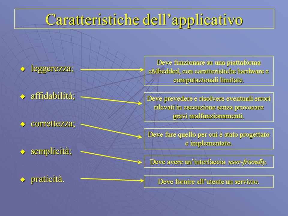 Caratteristiche dellapplicativo leggerezza; affidabilità; correttezza; semplicità; praticità. Deve funzionare su una piattaforma eMbedded, con caratte