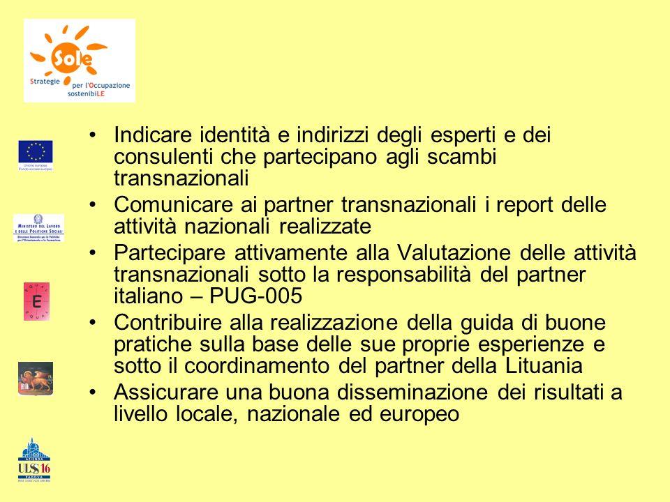Indicare identità e indirizzi degli esperti e dei consulenti che partecipano agli scambi transnazionali Comunicare ai partner transnazionali i report