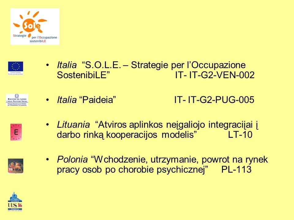 Italia S.O.L.E. – Strategie per lOccupazione SostenibiLE IT- IT-G2-VEN-002 Italia Paideia IT- IT-G2-PUG-005 Lituania Atviros aplinkos neįgaliojo integ