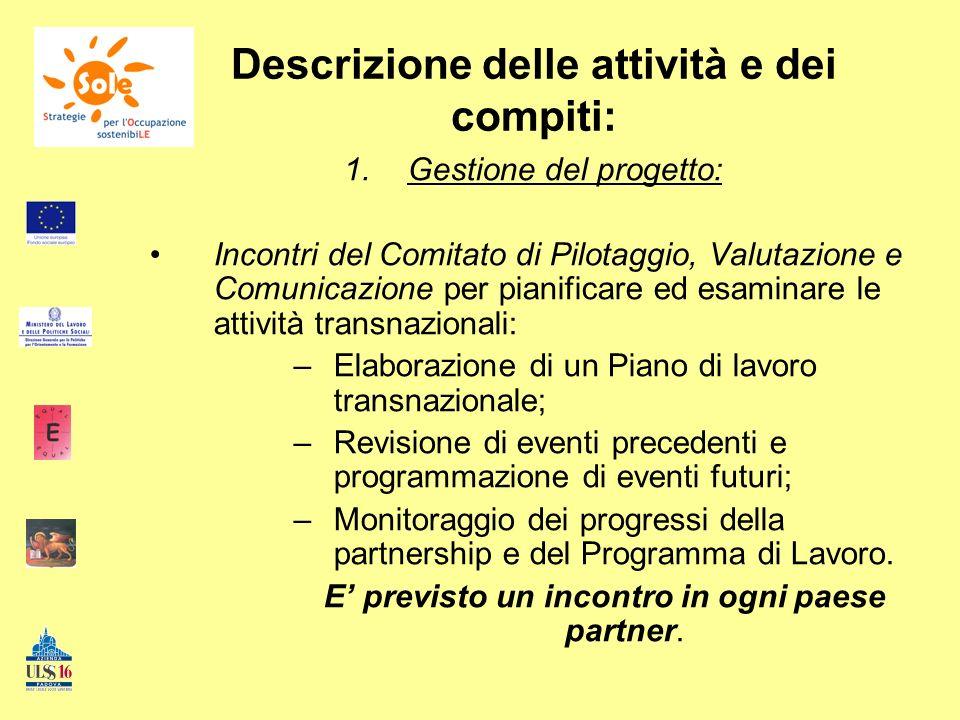 Descrizione delle attività e dei compiti: 1.Gestione del progetto: Incontri del Comitato di Pilotaggio, Valutazione e Comunicazione per pianificare ed