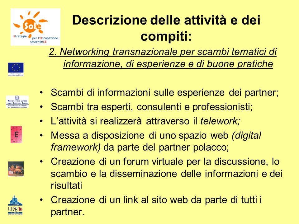 Descrizione delle attività e dei compiti: 2. Networking transnazionale per scambi tematici di informazione, di esperienze e di buone pratiche Scambi d