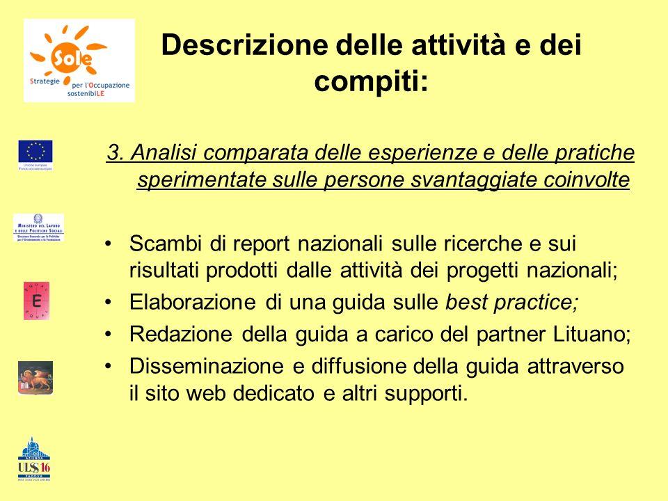 Descrizione delle attività e dei compiti: 3. Analisi comparata delle esperienze e delle pratiche sperimentate sulle persone svantaggiate coinvolte Sca