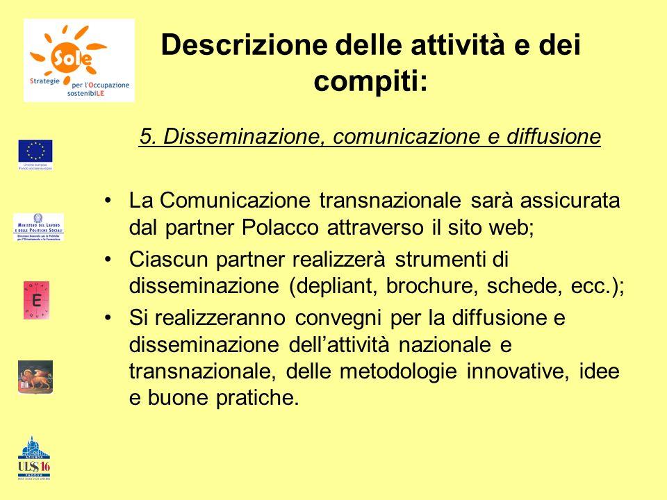 Descrizione delle attività e dei compiti: 5. Disseminazione, comunicazione e diffusione La Comunicazione transnazionale sarà assicurata dal partner Po