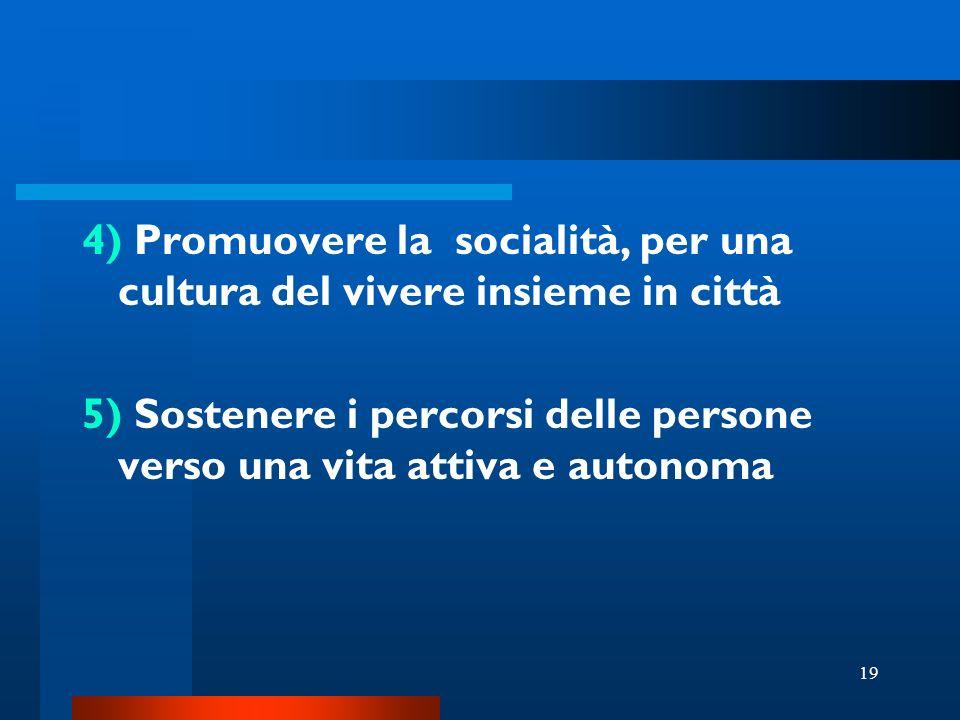19 4) Promuovere la socialità, per una cultura del vivere insieme in città 5) Sostenere i percorsi delle persone verso una vita attiva e autonoma