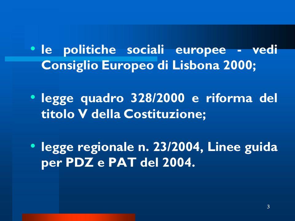 3 le politiche sociali europee - vedi Consiglio Europeo di Lisbona 2000; legge quadro 328/2000 e riforma del titolo V della Costituzione; legge regionale n.