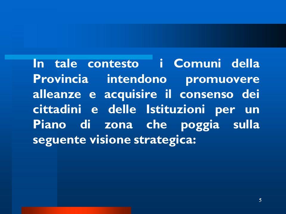 5 In tale contesto i Comuni della Provincia intendono promuovere alleanze e acquisire il consenso dei cittadini e delle Istituzioni per un Piano di zona che poggia sulla seguente visione strategica: