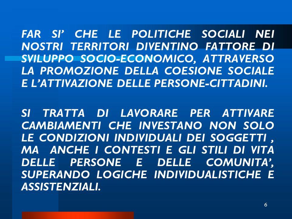 6 FAR SI CHE LE POLITICHE SOCIALI NEI NOSTRI TERRITORI DIVENTINO FATTORE DI SVILUPPO SOCIO-ECONOMICO, ATTRAVERSO LA PROMOZIONE DELLA COESIONE SOCIALE E LATTIVAZIONE DELLE PERSONE-CITTADINI.