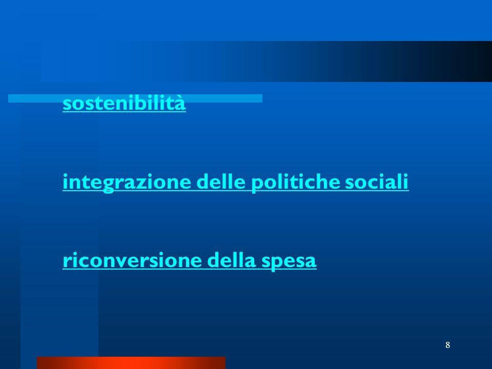 8 sostenibilità integrazione delle politiche sociali riconversione della spesa