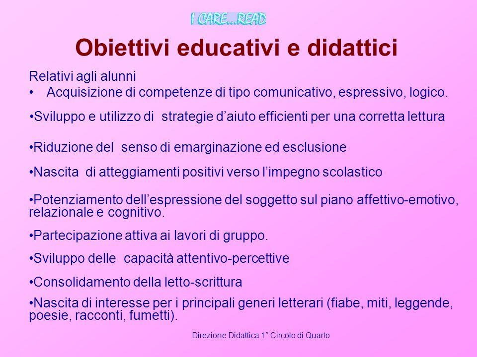 Obiettivi educativi e didattici Relativi agli alunni Acquisizione di competenze di tipo comunicativo, espressivo, logico. Direzione Didattica 1° Circo
