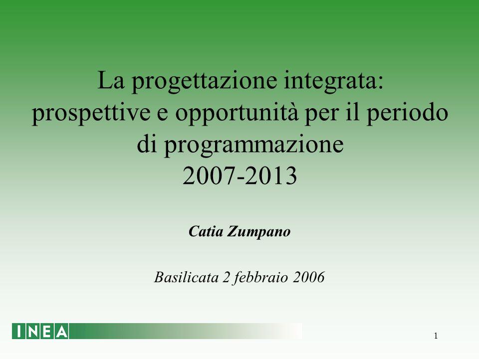 1 Catia Zumpano Basilicata 2 febbraio 2006 La progettazione integrata: prospettive e opportunità per il periodo di programmazione 2007-2013