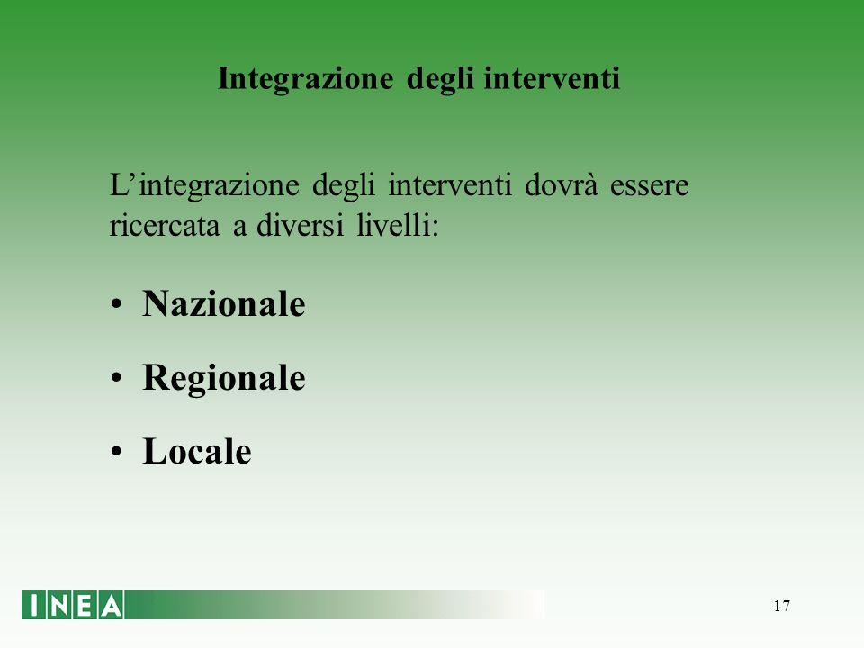 17 Integrazione degli interventi Lintegrazione degli interventi dovrà essere ricercata a diversi livelli: Nazionale Regionale Locale