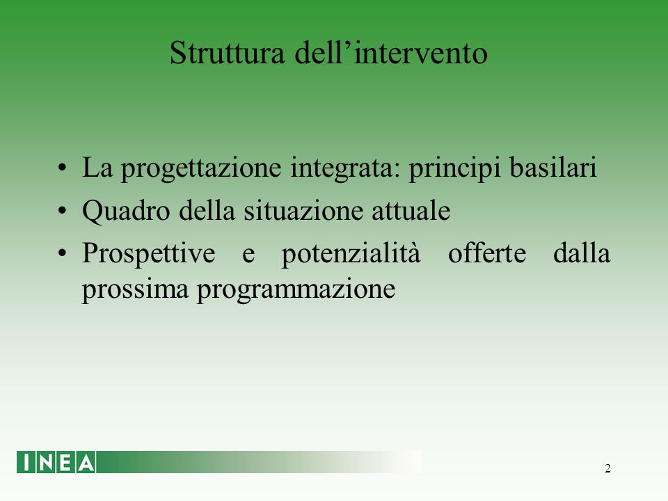 2 La progettazione integrata: principi basilari Quadro della situazione attuale Prospettive e potenzialità offerte dalla prossima programmazione Struttura dellintervento