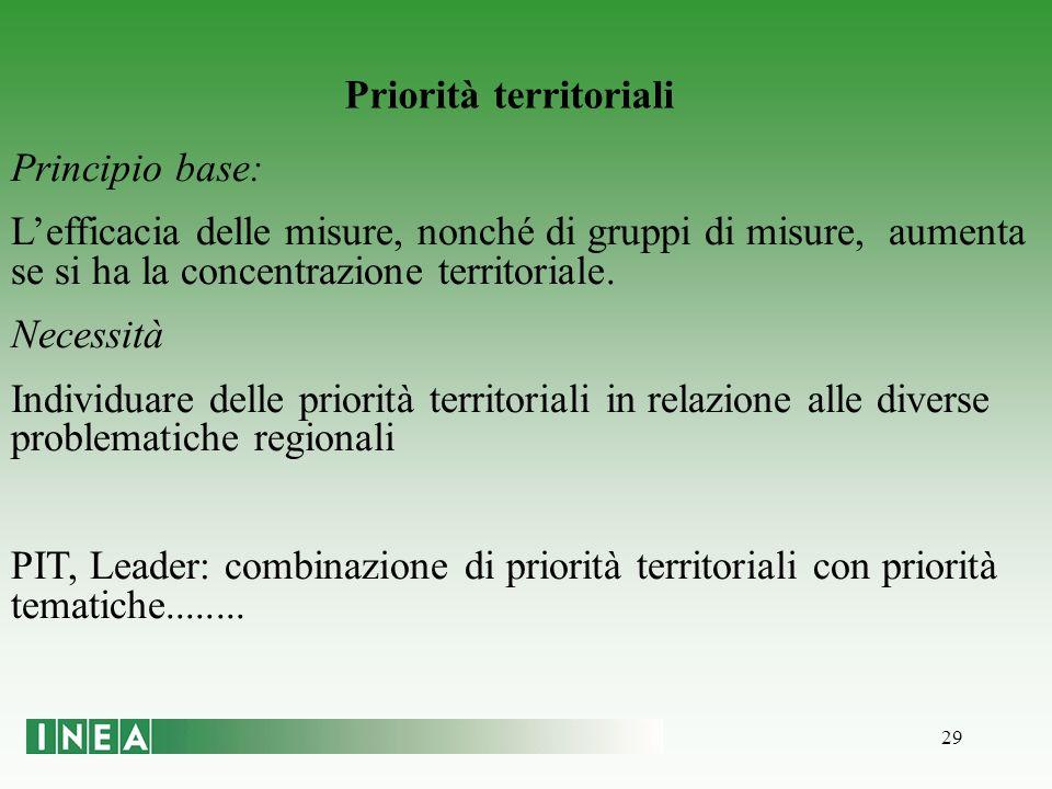 29 Priorità territoriali Principio base: Lefficacia delle misure, nonché di gruppi di misure, aumenta se si ha la concentrazione territoriale.