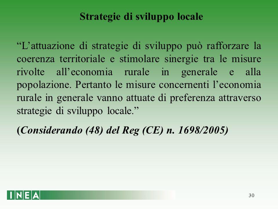 30 Strategie di sviluppo locale Lattuazione di strategie di sviluppo può rafforzare la coerenza territoriale e stimolare sinergie tra le misure rivolte alleconomia rurale in generale e alla popolazione.