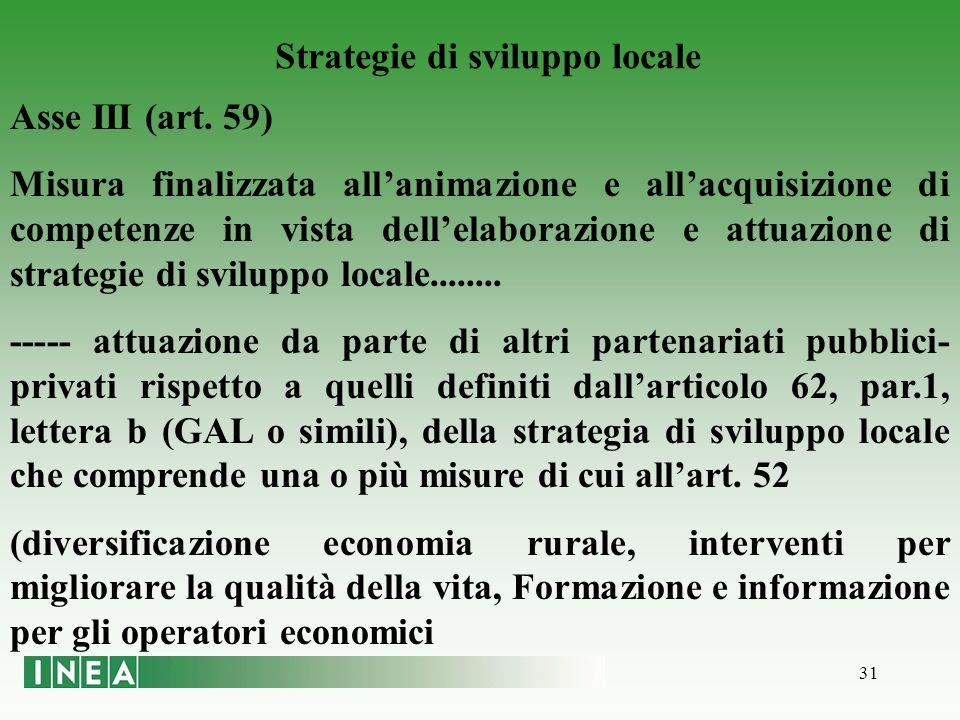 31 Strategie di sviluppo locale Asse III (art.