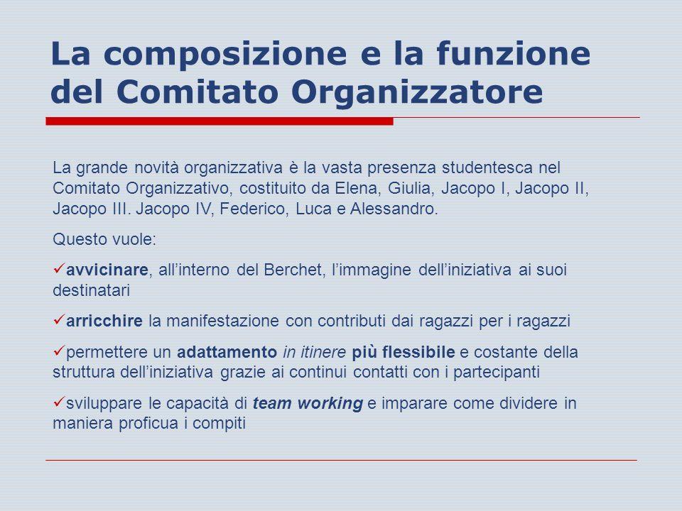 La composizione e la funzione del Comitato Organizzatore La grande novità organizzativa è la vasta presenza studentesca nel Comitato Organizzativo, costituito da Elena, Giulia, Jacopo I, Jacopo II, Jacopo III.