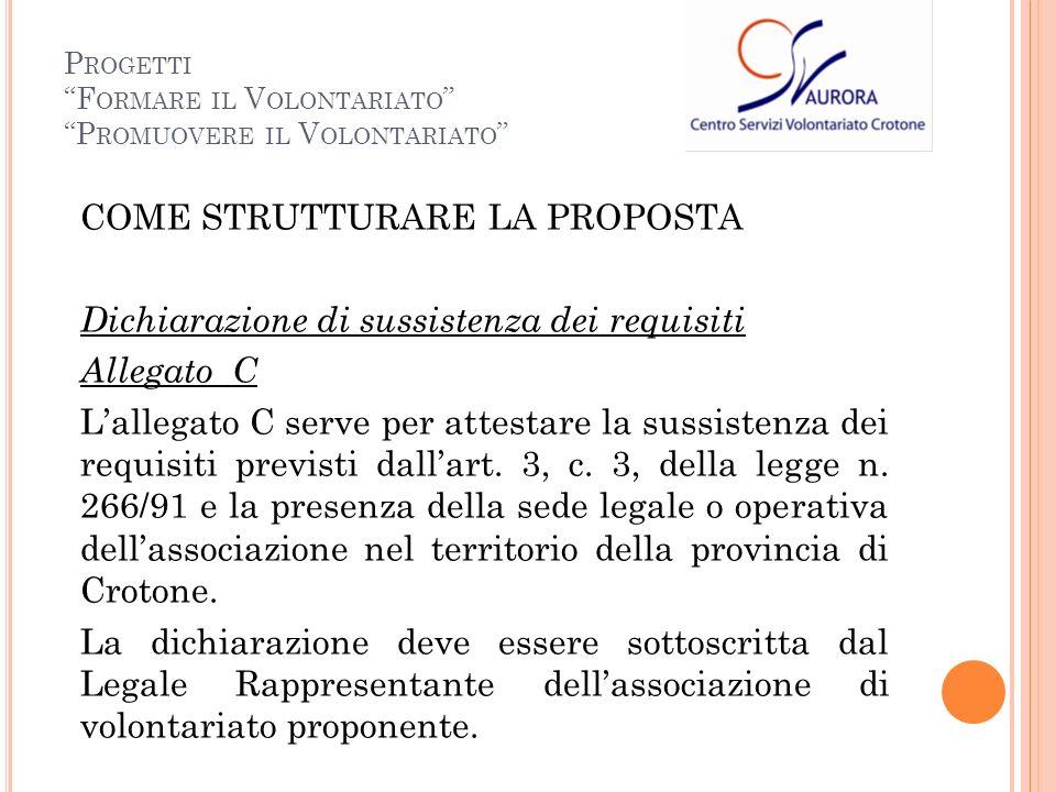 COME STRUTTURARE LA PROPOSTA Dichiarazione di sussistenza dei requisiti Allegato C Lallegato C serve per attestare la sussistenza dei requisiti previsti dallart.