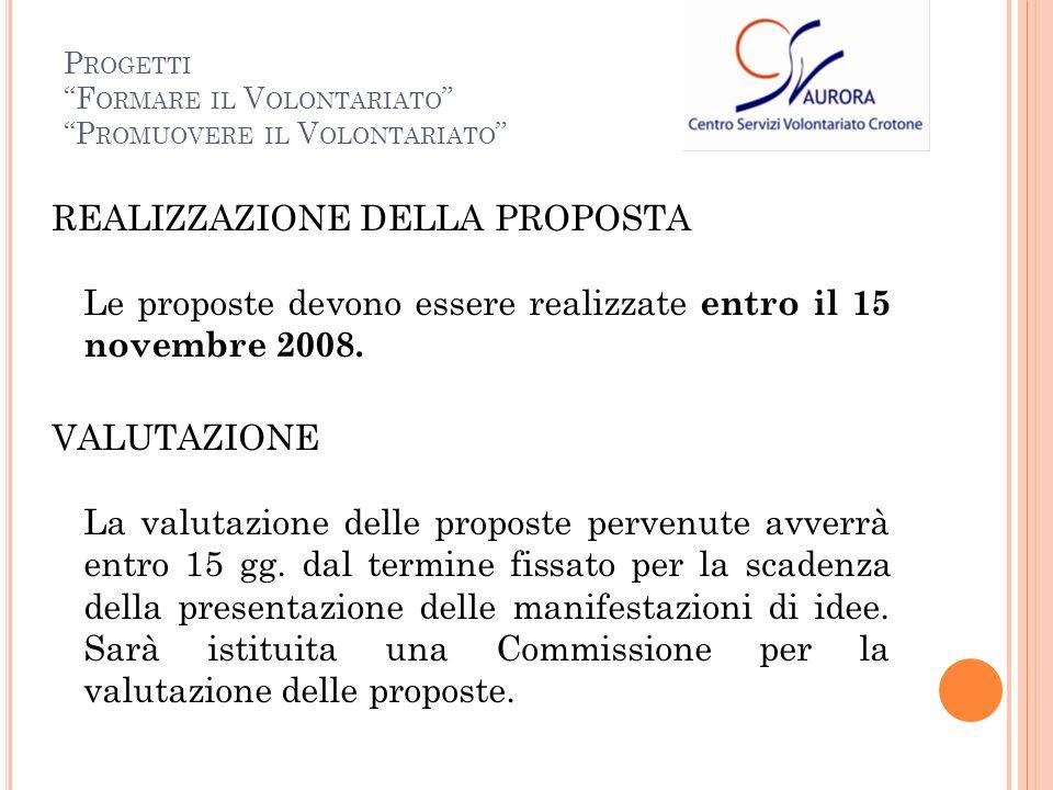 REALIZZAZIONE DELLA PROPOSTA Le proposte devono essere realizzate entro il 15 novembre 2008.