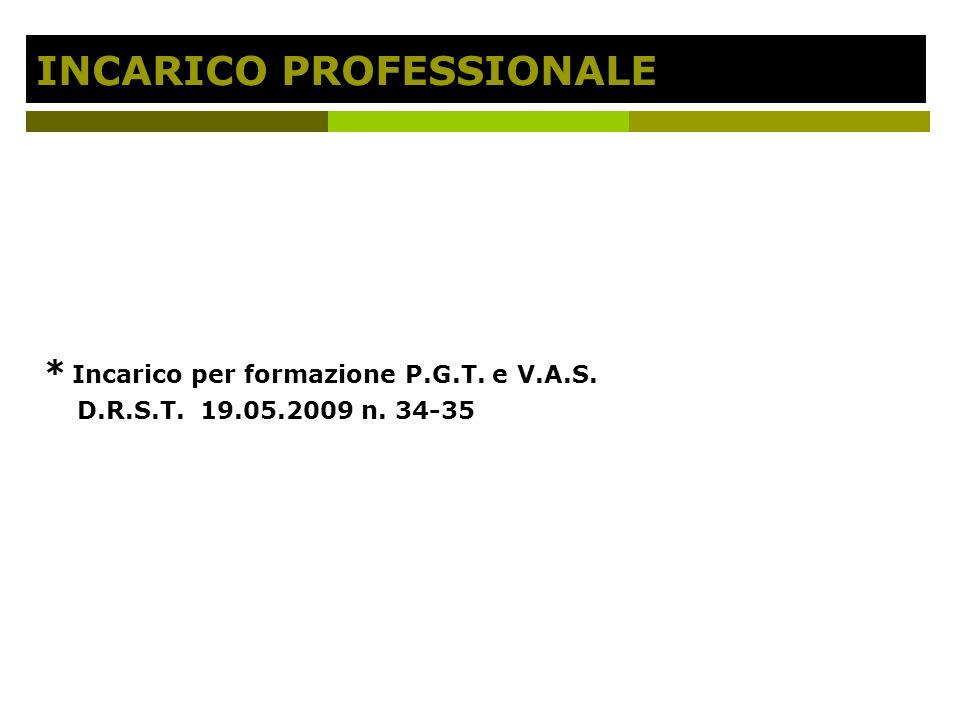 INCARICO PROFESSIONALE * Incarico per formazione P.G.T. e V.A.S. D.R.S.T. 19.05.2009 n. 34-35