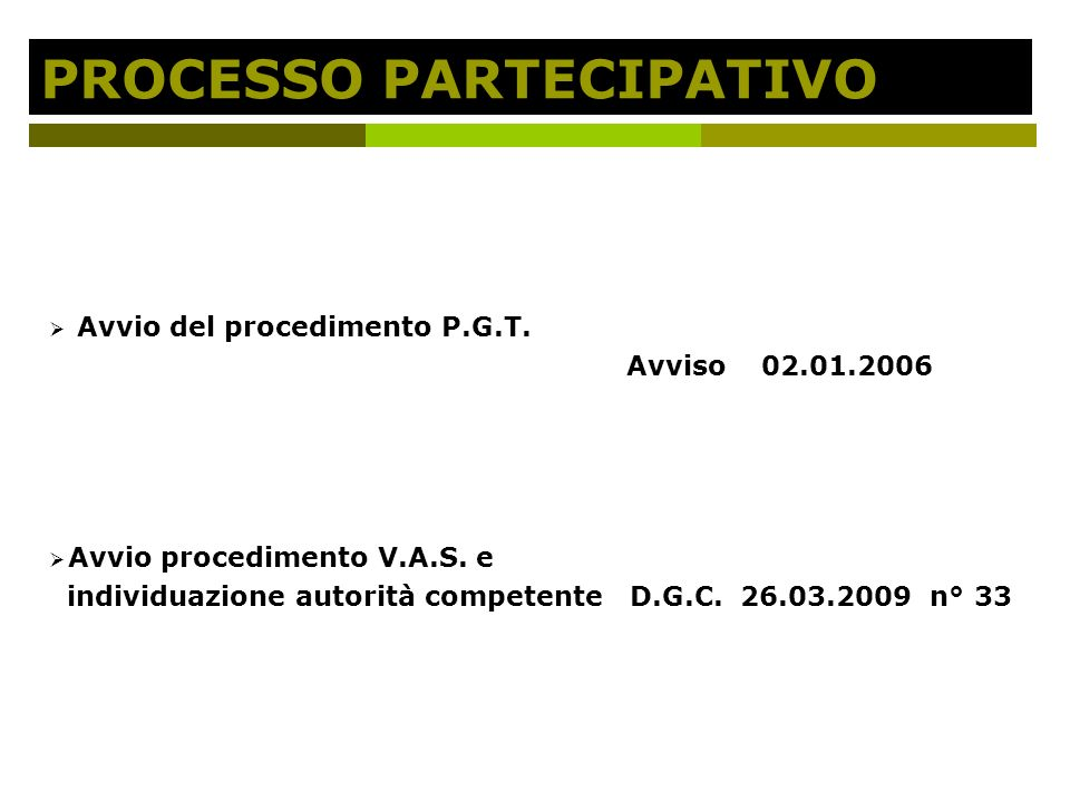 PROCESSO PARTECIPATIVO Avvio del procedimento P.G.T.