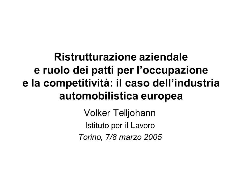 Ristrutturazione aziendale e ruolo dei patti per loccupazione e la competitività: il caso dellindustria automobilistica europea Volker Telljohann Istituto per il Lavoro Torino, 7/8 marzo 2005