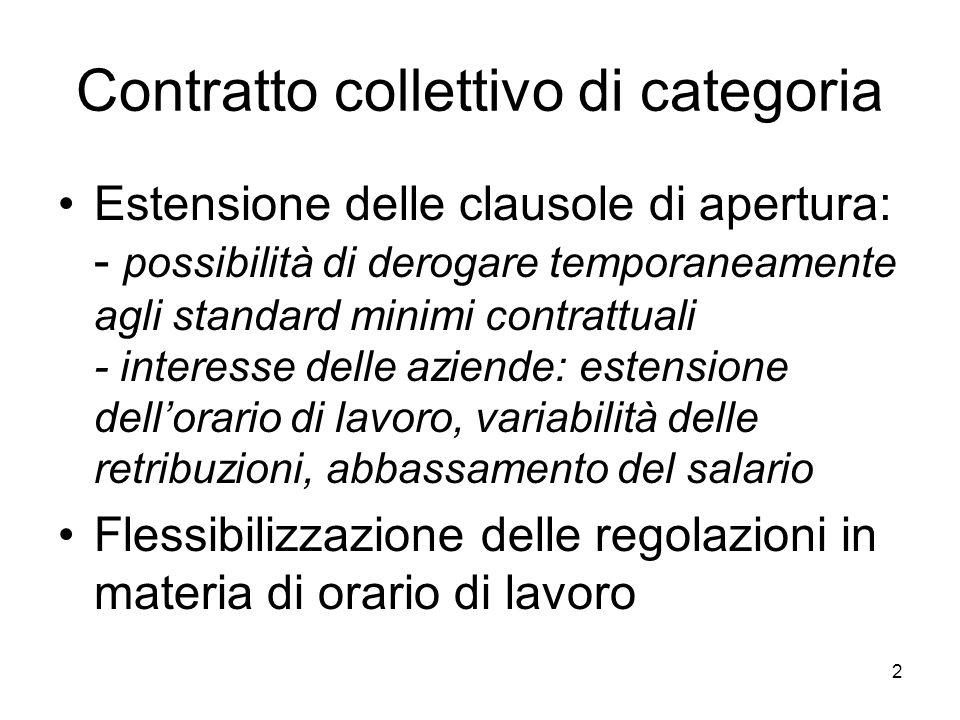 3 Criteri per regolazioni deroganti Decentralizzazione controllata Deroga inevitabile per scongiurare il pericolo di insolvenza Bisogno di approvazione da parte del sindacato Su base negoziale temporanea Nellambito di un progetto complessivo sostenibile