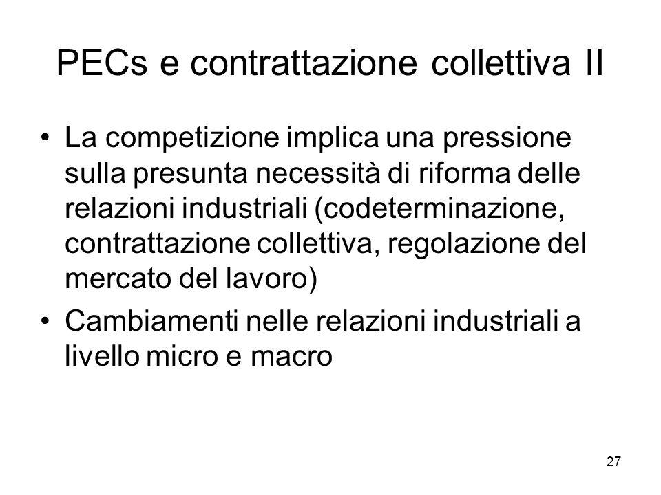 27 PECs e contrattazione collettiva II La competizione implica una pressione sulla presunta necessità di riforma delle relazioni industriali (codeterminazione, contrattazione collettiva, regolazione del mercato del lavoro) Cambiamenti nelle relazioni industriali a livello micro e macro