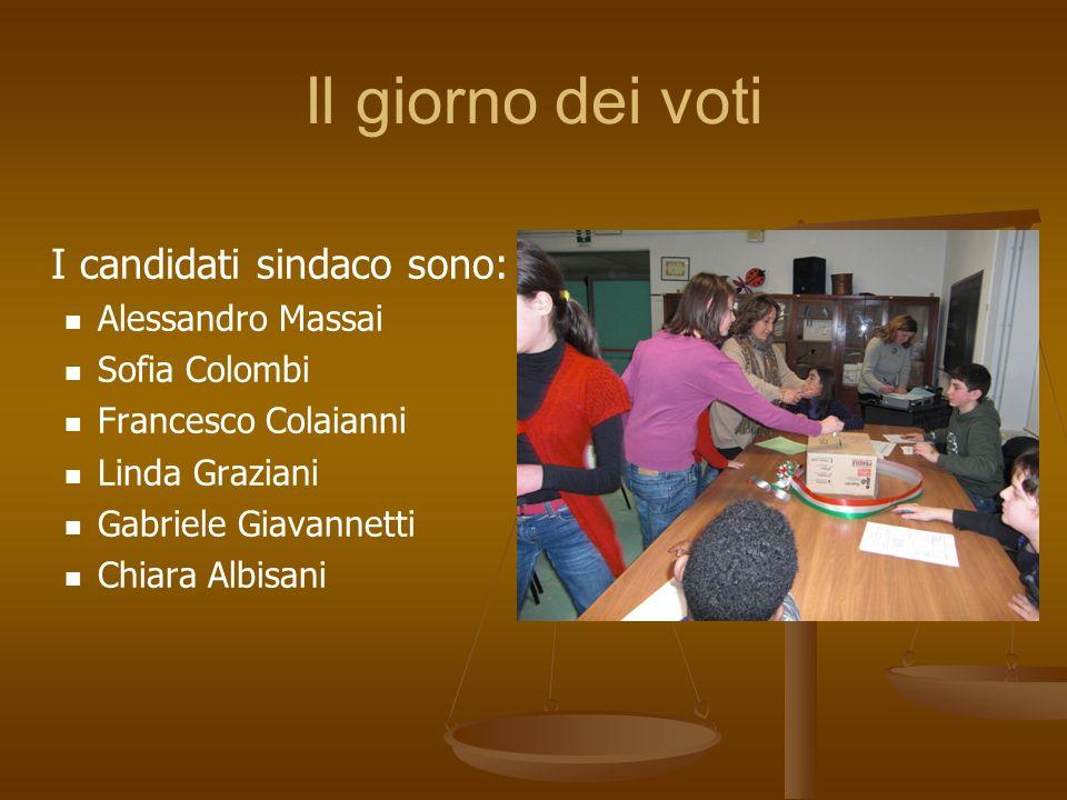 Il giorno dei voti I candidati sindaco sono: Alessandro Massai Sofia Colombi Francesco Colaianni Linda Graziani Gabriele Giavannetti Chiara Albisani
