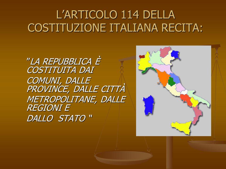 LA REPUBBLICA È COSTITUITA DAI COMUNI, DALLE PROVINCE, DALLE CITTÀ METROPOLITANE, DALLE REGIONI E DALLO STATO LARTICOLO 114 DELLA COSTITUZIONE ITALIANA RECITA: