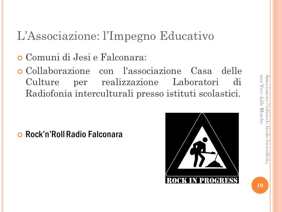 LAssociazione: lImpegno Educativo Comuni di Jesi e Falconara: Collaborazione con l associazione Casa delle Culture per realizzazione Laboratori di Radiofonia interculturali presso istituti scolastici.