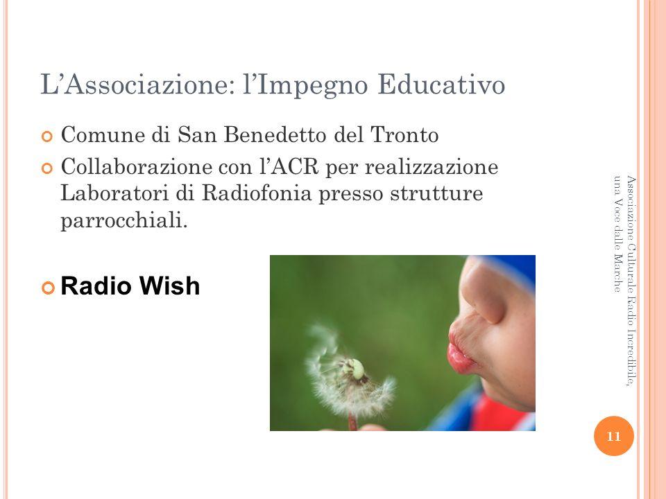 LAssociazione: lImpegno Educativo Comune di San Benedetto del Tronto Collaborazione con lACR per realizzazione Laboratori di Radiofonia presso strutture parrocchiali.