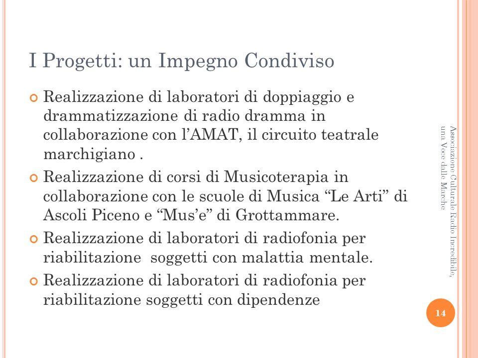 I Progetti: un Impegno Condiviso Realizzazione di laboratori di doppiaggio e drammatizzazione di radio dramma in collaborazione con lAMAT, il circuito teatrale marchigiano.
