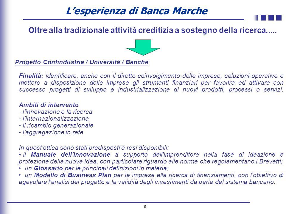 8 Lesperienza di Banca Marche Progetto Confindustria / Università / Banche Finalità: identificare, anche con il diretto coinvolgimento delle imprese,