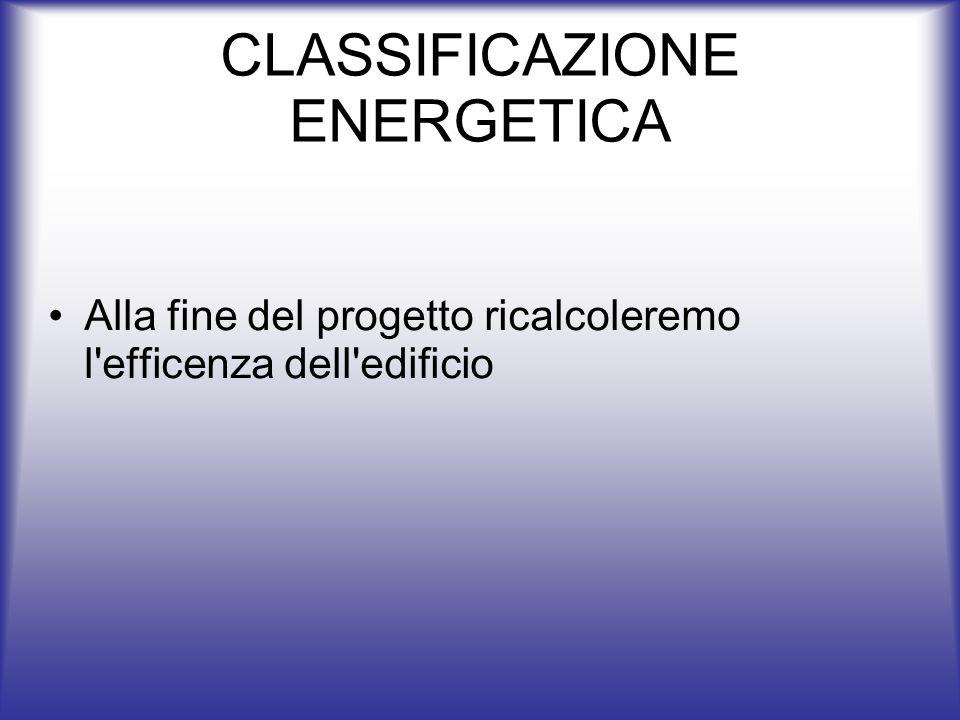 CLASSIFICAZIONE ENERGETICA Alla fine del progetto ricalcoleremo l'efficenza dell'edificio