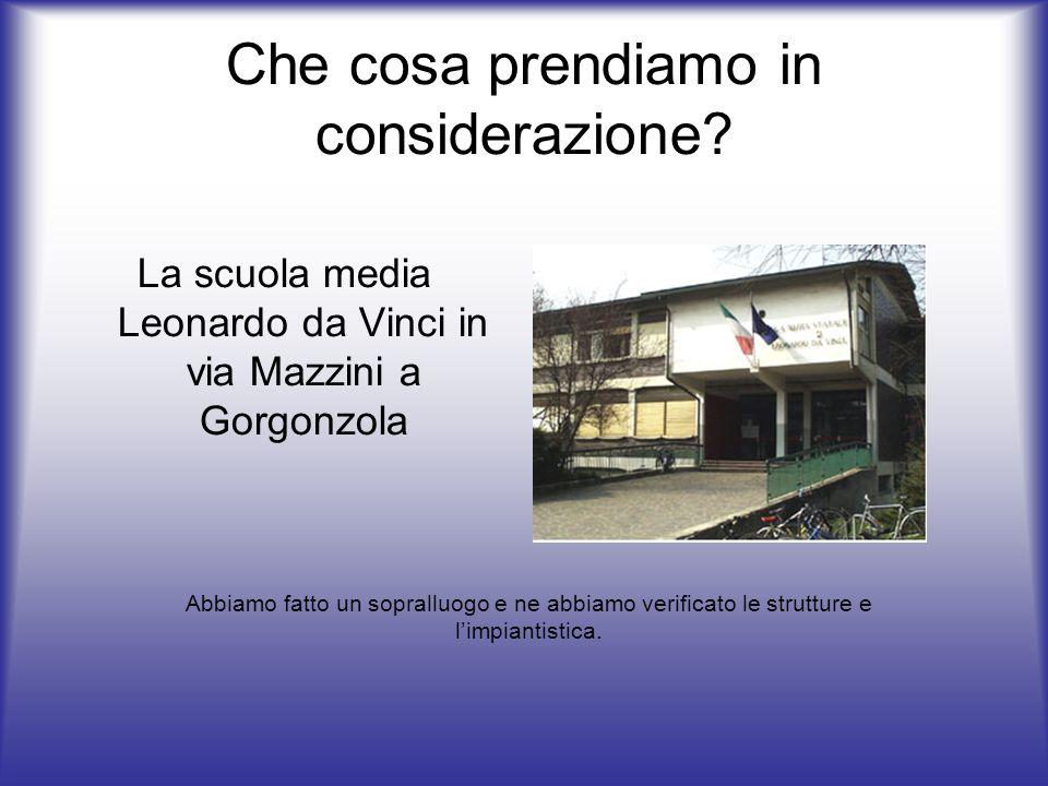 Che cosa prendiamo in considerazione? La scuola media Leonardo da Vinci in via Mazzini a Gorgonzola Abbiamo fatto un sopralluogo e ne abbiamo verifica