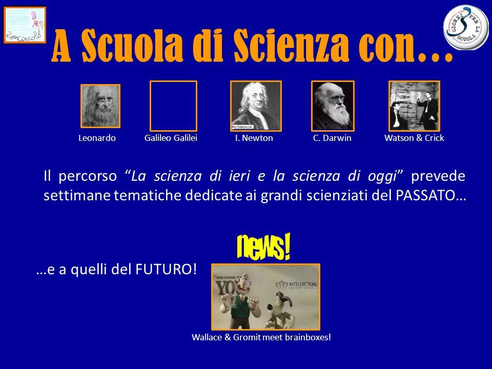 Il percorso La scienza di ieri e la scienza di oggi prevede settimane tematiche dedicate ai grandi scienziati del PASSATO… …e a quelli del FUTURO.
