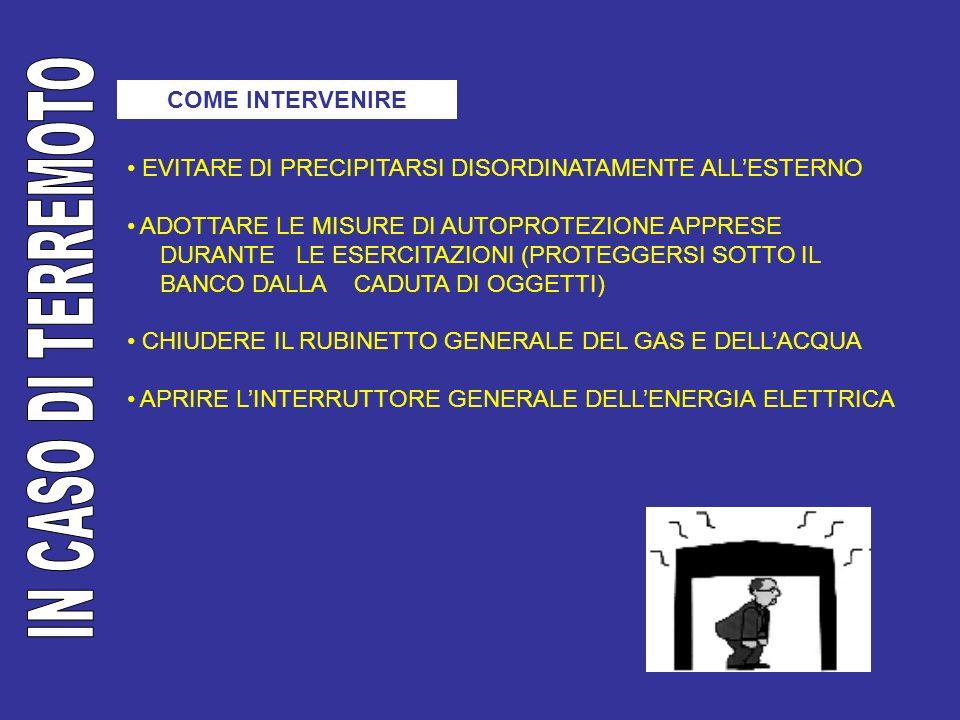 COME INTERVENIRE EVITARE DI PRECIPITARSI DISORDINATAMENTE ALLESTERNO ADOTTARE LE MISURE DI AUTOPROTEZIONE APPRESE DURANTE LE ESERCITAZIONI (PROTEGGERS